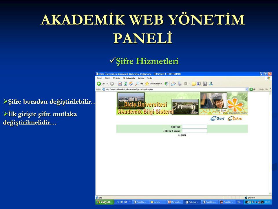 AKADEMİK WEB YÖNETİM PANELİ