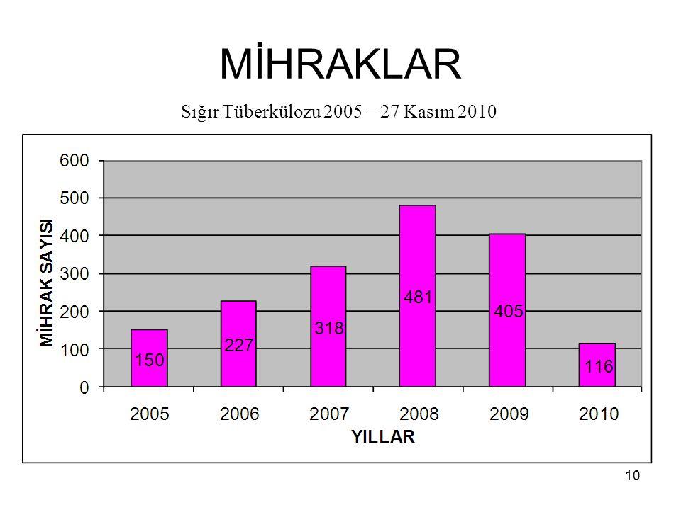 MİHRAKLAR Sığır Tüberkülozu 2005 – 27 Kasım 2010