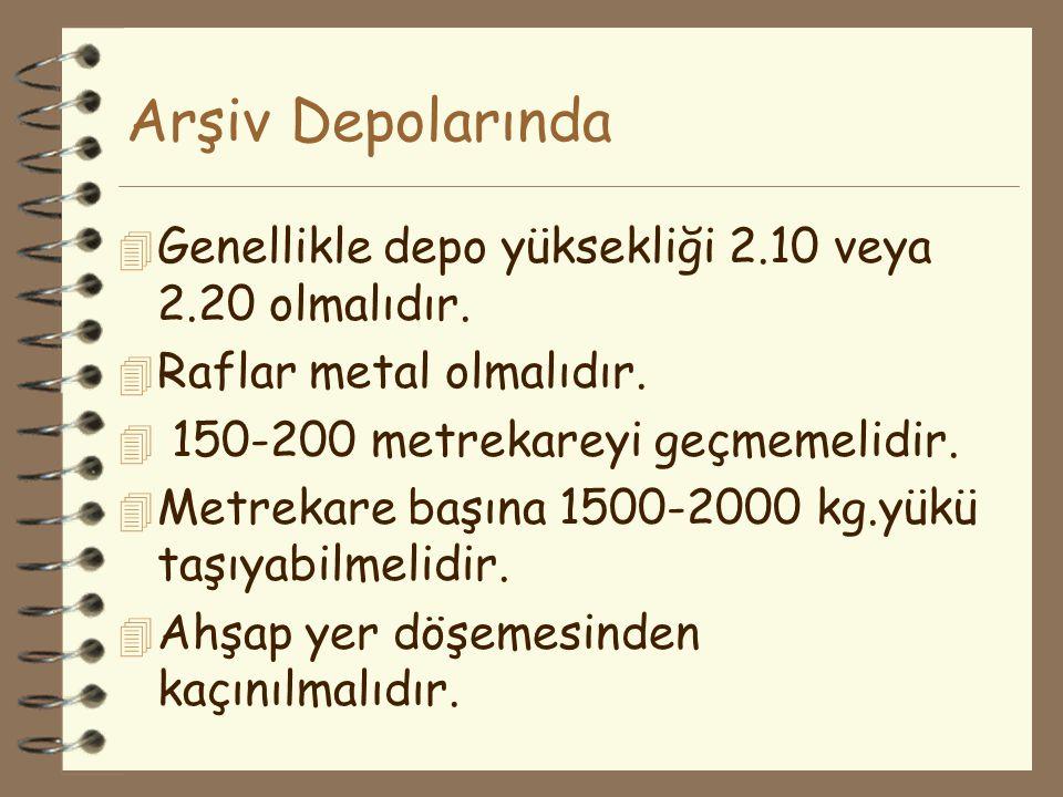 Arşiv Depolarında Genellikle depo yüksekliği 2.10 veya 2.20 olmalıdır.