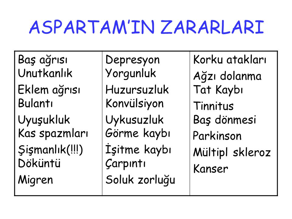 ASPARTAM'IN ZARARLARI