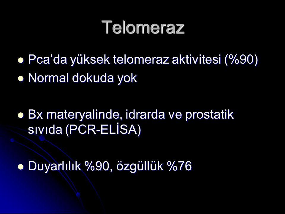 Telomeraz Pca'da yüksek telomeraz aktivitesi (%90) Normal dokuda yok