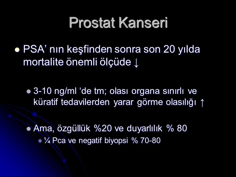 Prostat Kanseri PSA' nın keşfinden sonra son 20 yılda mortalite önemli ölçüde ↓