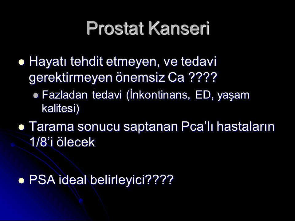 Prostat Kanseri Hayatı tehdit etmeyen, ve tedavi gerektirmeyen önemsiz Ca Fazladan tedavi (İnkontinans, ED, yaşam kalitesi)