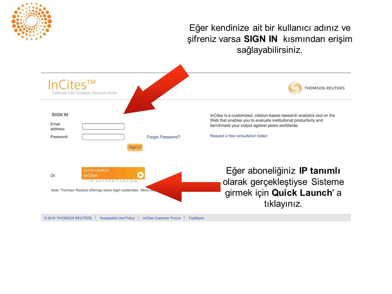 Eğer kendinize ait bir kullanıcı adınız ve şifreniz varsa SIGN IN kısmından erişim sağlayabilirsiniz.