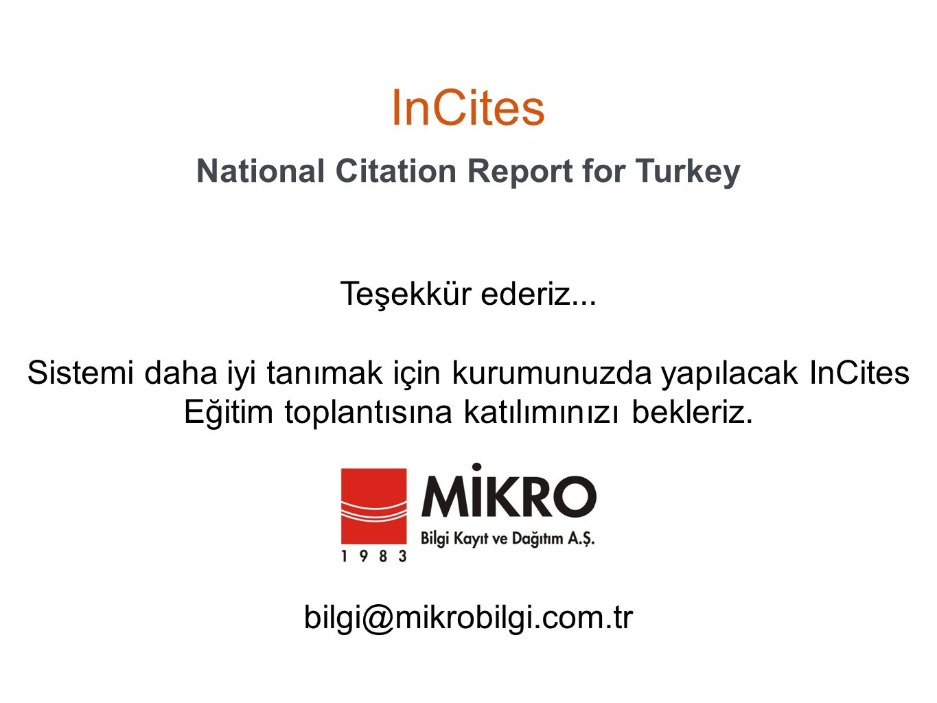 National Citation Report for Turkey