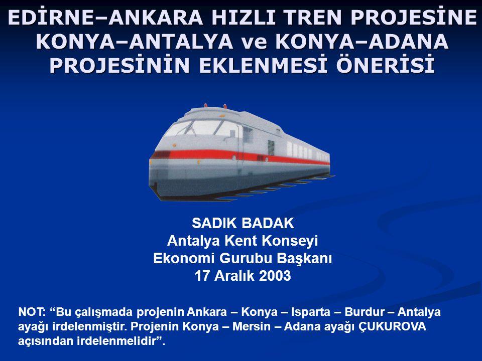 SADIK BADAK Antalya Kent Konseyi Ekonomi Gurubu Başkanı 17 Aralık 2003