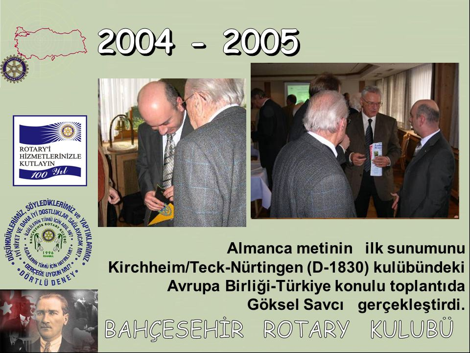 2004 - 2005 Almanca metinin ilk sunumunu