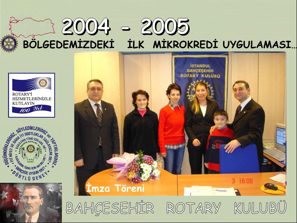 2004 - 2005 BÖLGEDEMİZDEKİ İLK MİKROKREDİ UYGULAMASI… İmza Töreni