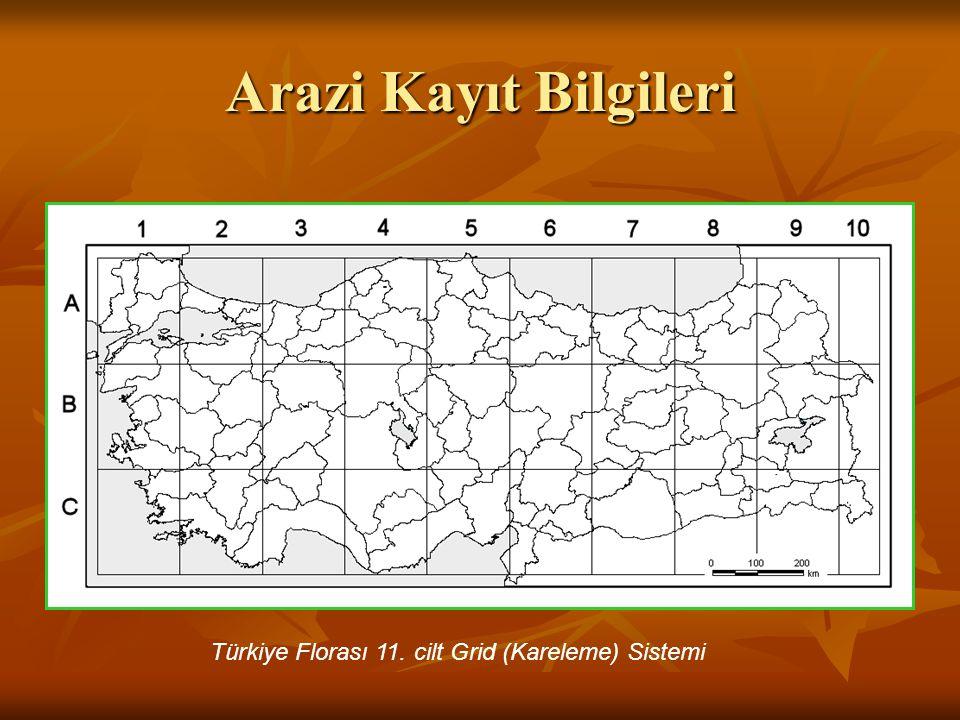 Arazi Kayıt Bilgileri Türkiye Florası 11. cilt Grid (Kareleme) Sistemi