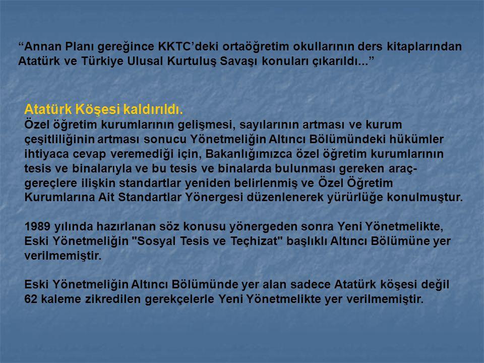 Atatürk Köşesi kaldırıldı.