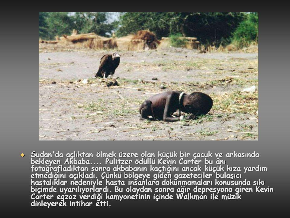 Sudan da açlıktan ölmek üzere olan küçük bir çocuk ve arkasında bekleyen Akbaba....