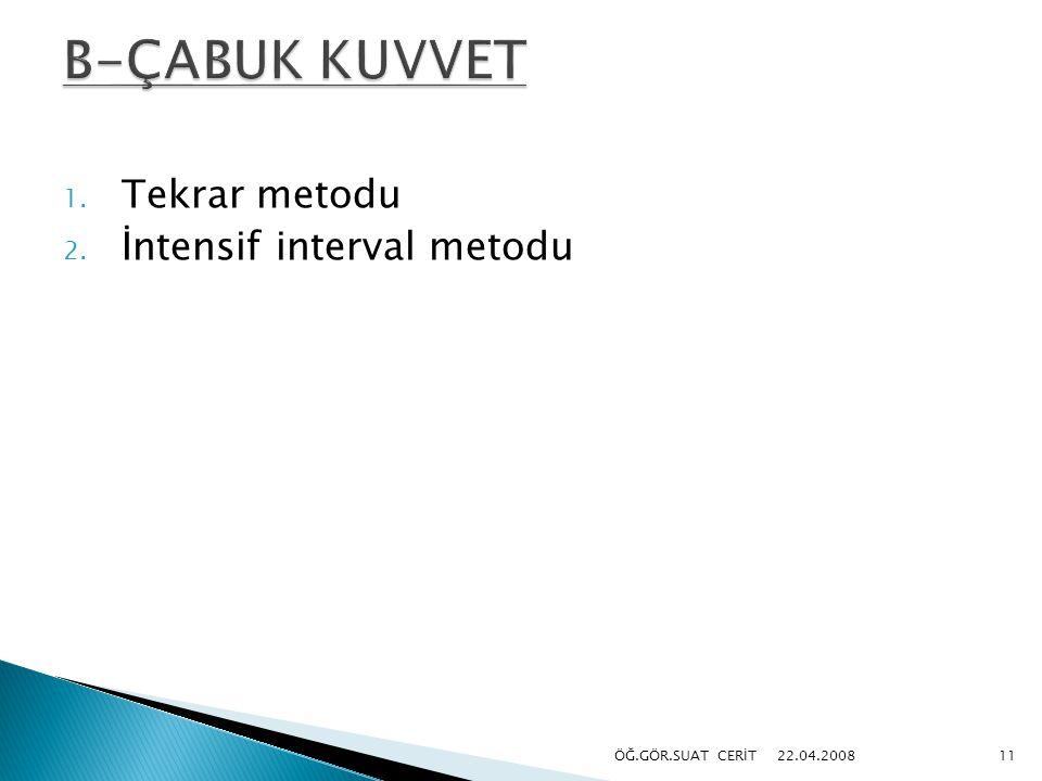 B-ÇABUK KUVVET Tekrar metodu İntensif interval metodu