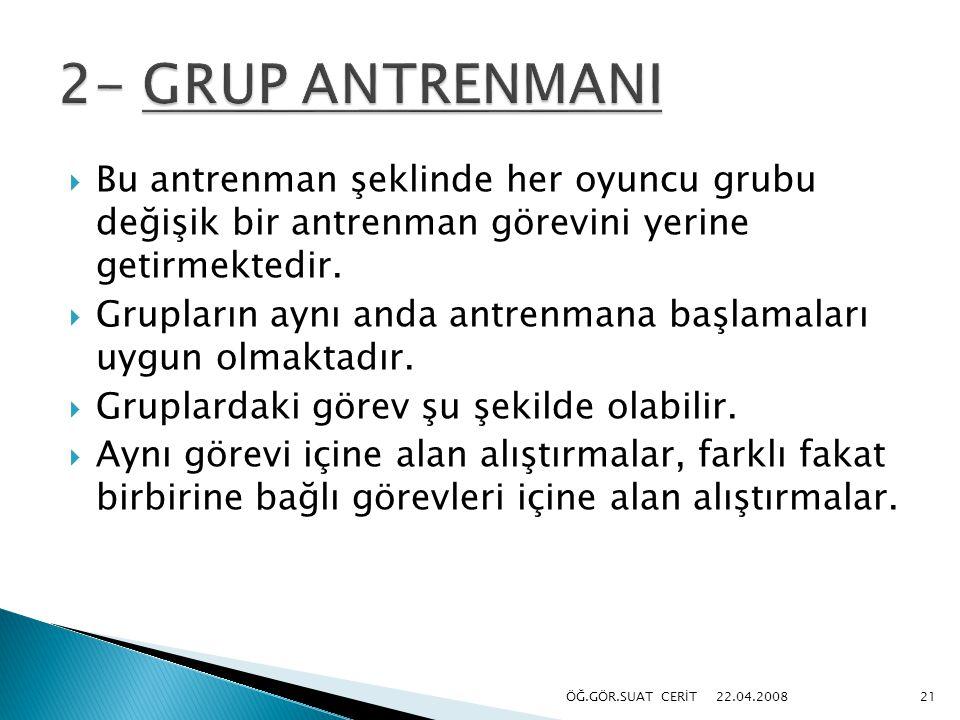 2- GRUP ANTRENMANI Bu antrenman şeklinde her oyuncu grubu değişik bir antrenman görevini yerine getirmektedir.