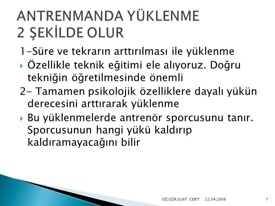 ANTRENMANDA YÜKLENME 2 ŞEKİLDE OLUR