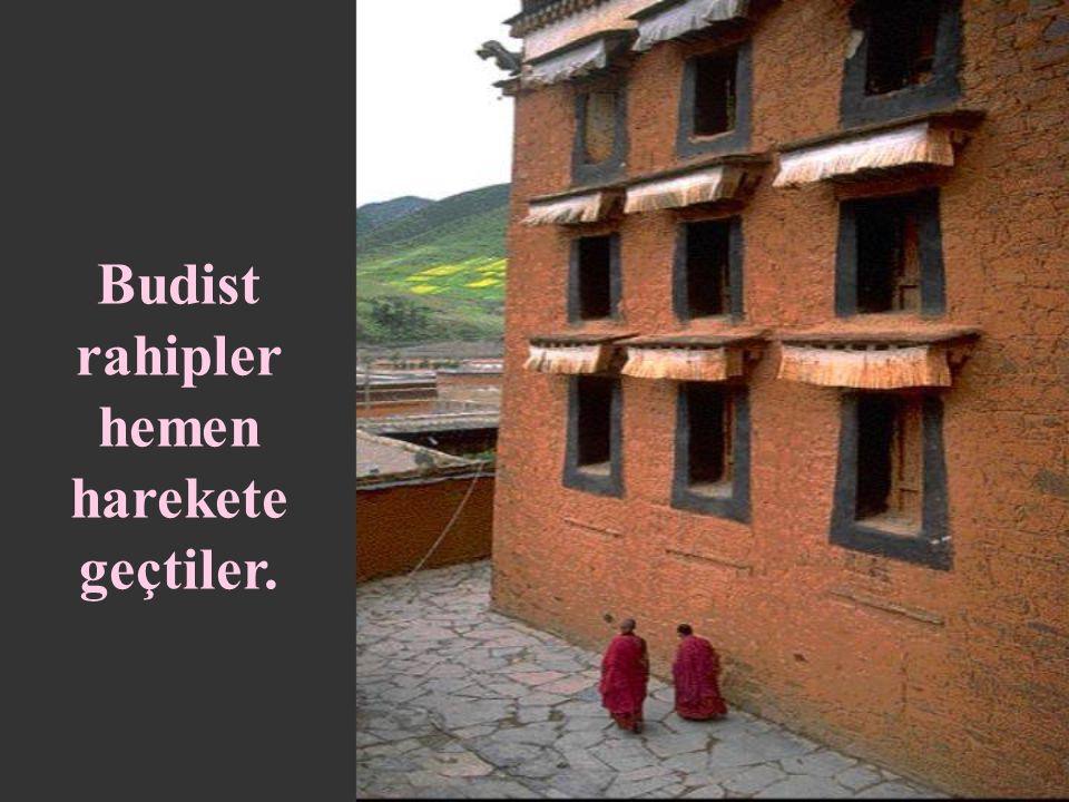 Budist rahipler hemen harekete geçtiler.