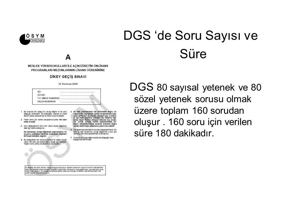 DGS 'de Soru Sayısı ve Süre