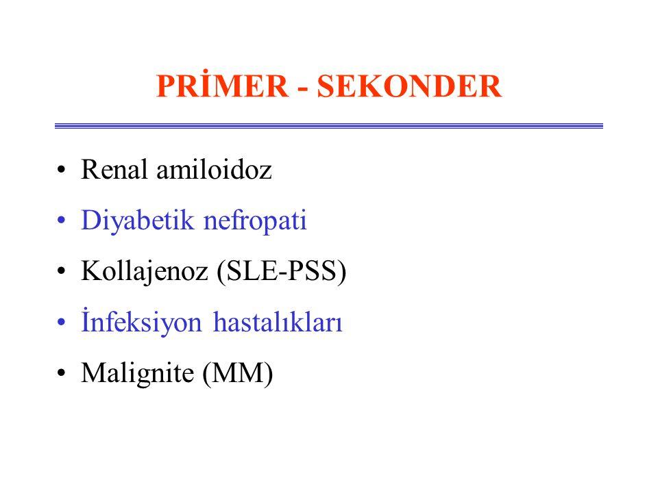 PRİMER - SEKONDER Renal amiloidoz Diyabetik nefropati