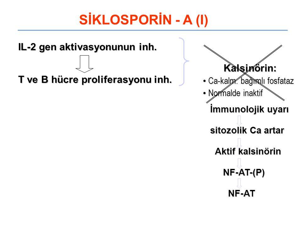 SİKLOSPORİN - A (I) IL-2 gen aktivasyonunun inh.
