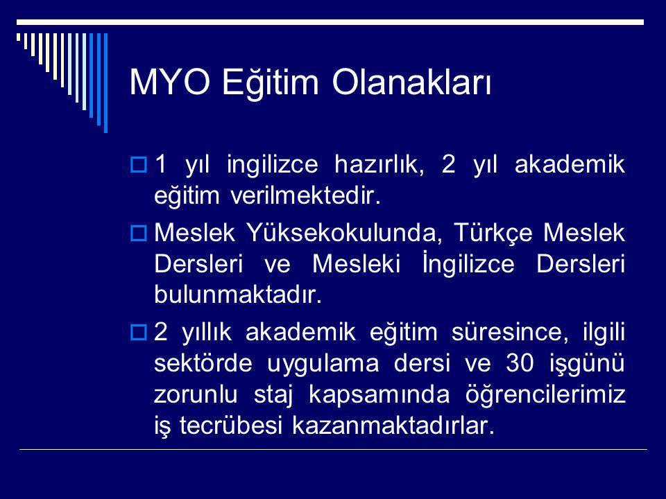 MYO Eğitim Olanakları 1 yıl ingilizce hazırlık, 2 yıl akademik eğitim verilmektedir.