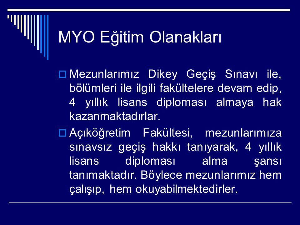 MYO Eğitim Olanakları