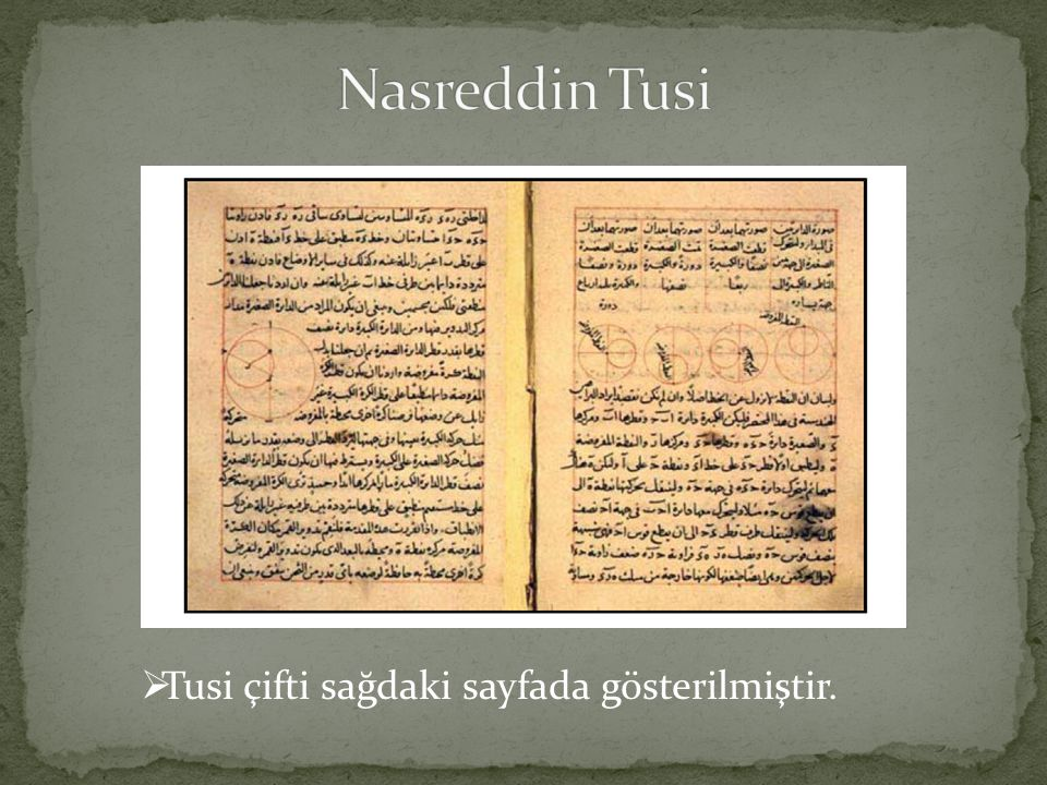 Nasreddin Tusi Tusi çifti sağdaki sayfada gösterilmiştir.