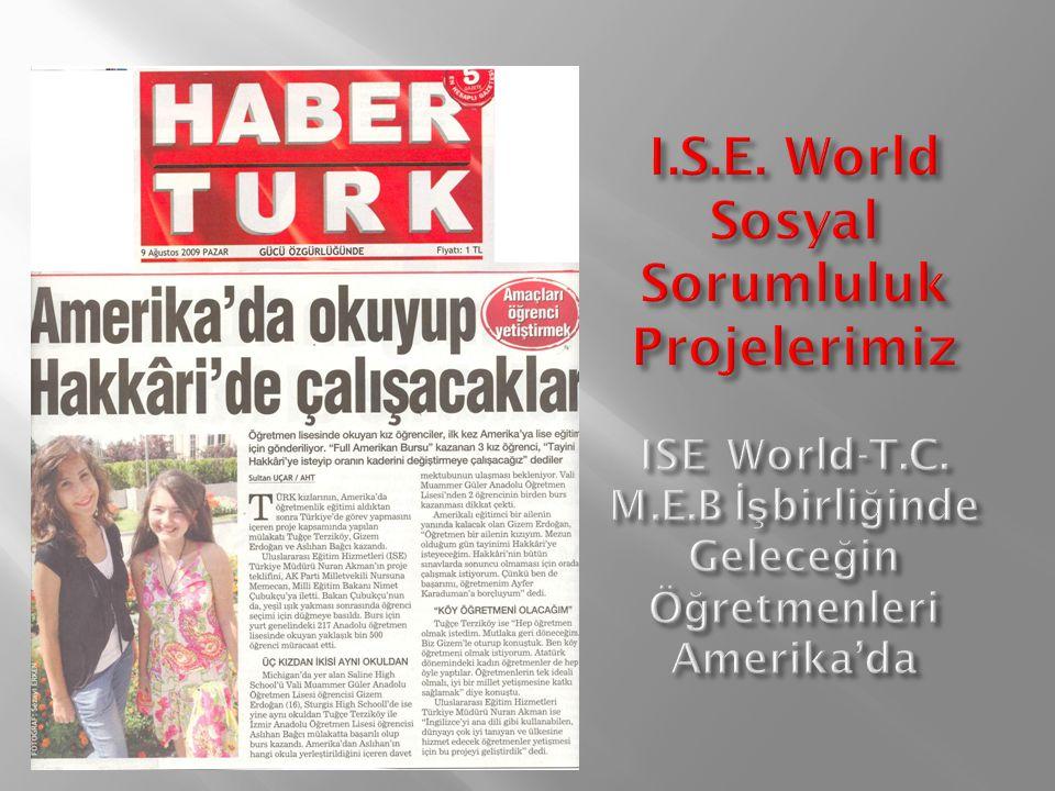 I. S. E. World Sosyal Sorumluluk Projelerimiz ISE World-T. C. M. E