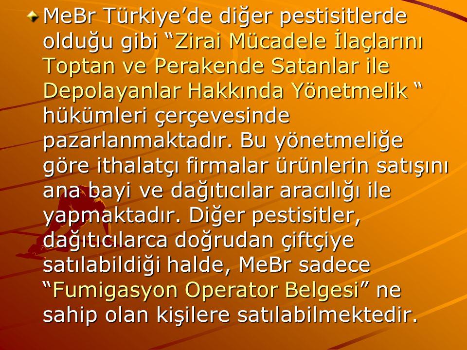 MeBr Türkiye'de diğer pestisitlerde olduğu gibi Zirai Mücadele İlaçlarını Toptan ve Perakende Satanlar ile Depolayanlar Hakkında Yönetmelik hükümleri çerçevesinde pazarlanmaktadır.