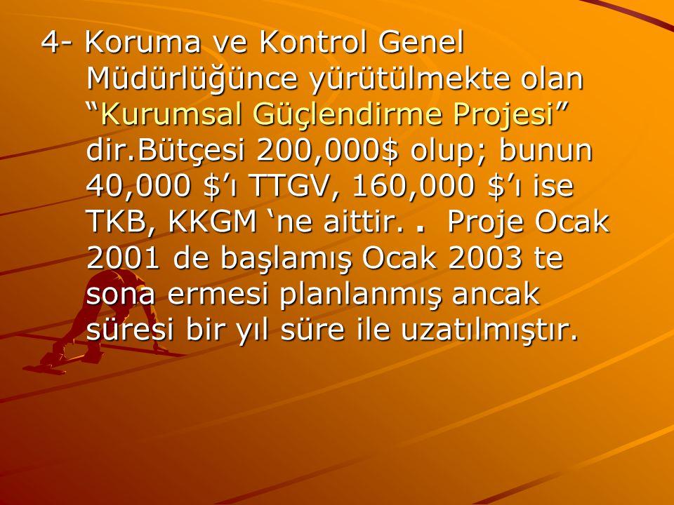 4- Koruma ve Kontrol Genel Müdürlüğünce yürütülmekte olan Kurumsal Güçlendirme Projesi dir.Bütçesi 200,000$ olup; bunun 40,000 $'ı TTGV, 160,000 $'ı ise TKB, KKGM 'ne aittir.