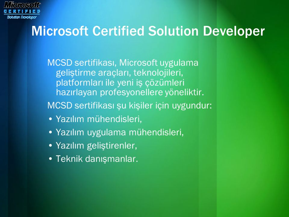 Microsoft Certified Solution Developer