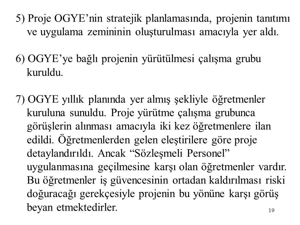 5) Proje OGYE'nin stratejik planlamasında, projenin tanıtımı