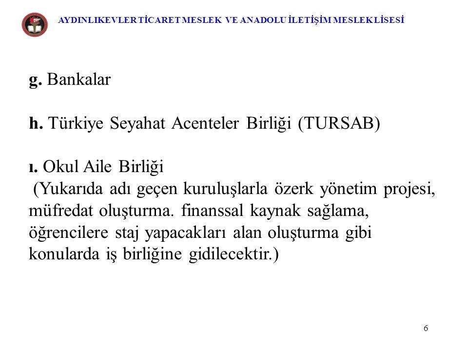 h. Türkiye Seyahat Acenteler Birliği (TURSAB)