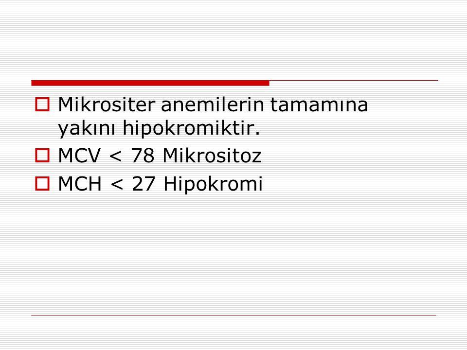 Mikrositer anemilerin tamamına yakını hipokromiktir.