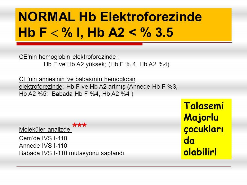 NORMAL Hb Elektroforezinde Hb F  % l, Hb A2 < % 3.5