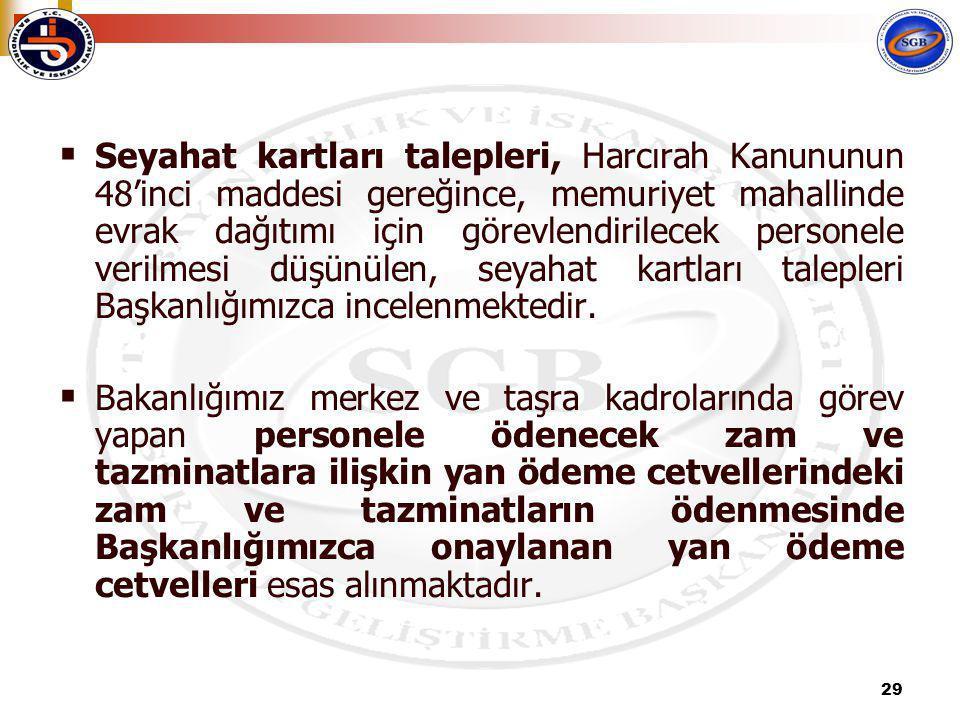 Seyahat kartları talepleri, Harcırah Kanununun 48'inci maddesi gereğince, memuriyet mahallinde evrak dağıtımı için görevlendirilecek personele verilmesi düşünülen, seyahat kartları talepleri Başkanlığımızca incelenmektedir.