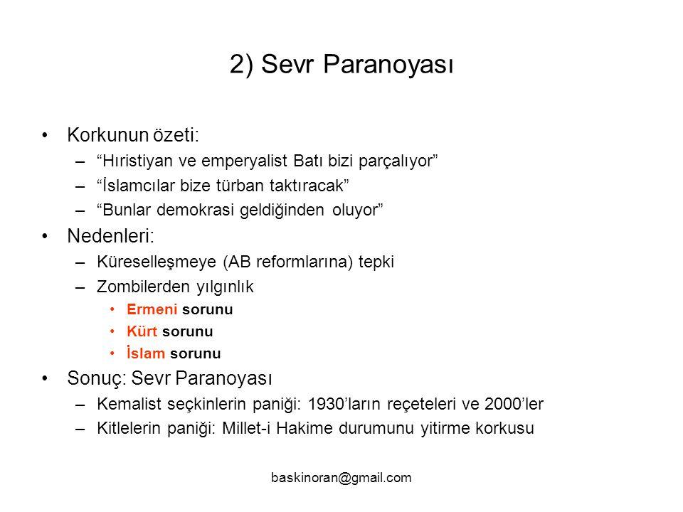 2) Sevr Paranoyası Korkunun özeti: Nedenleri: Sonuç: Sevr Paranoyası