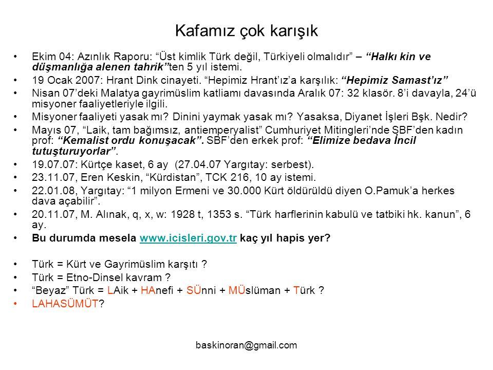 Kafamız çok karışık Ekim 04: Azınlık Raporu: Üst kimlik Türk değil, Türkiyeli olmalıdır – Halkı kin ve düşmanlığa alenen tahrik ten 5 yıl istemi.