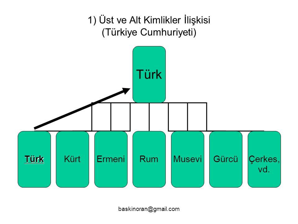 Türk 1) Üst ve Alt Kimlikler İlişkisi (Türkiye Cumhuriyeti) Türk Kürt