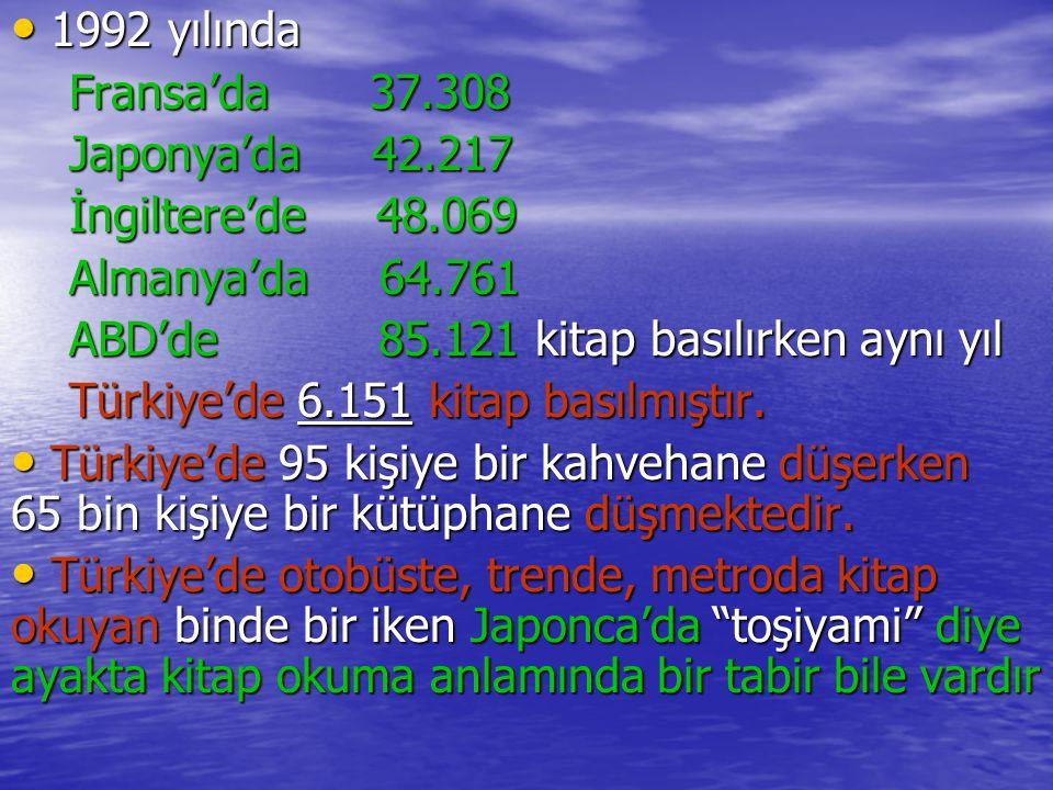 1992 yılında Fransa'da 37.308. Japonya'da 42.217. İngiltere'de 48.069. Almanya'da 64.761.