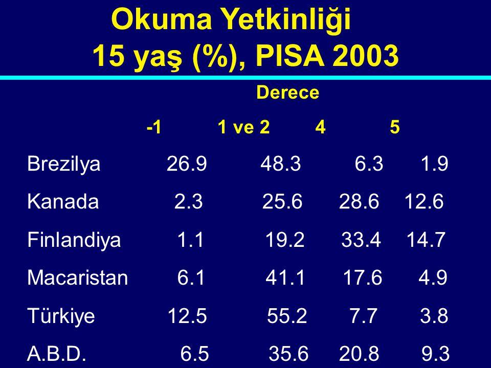 Okuma Yetkinliği 15 yaş (%), PISA 2003 Brezilya 26.9 48.3 6.3 1.9
