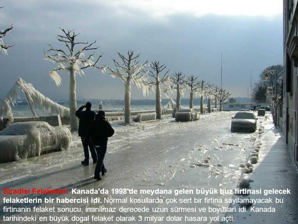 Siradisi Felaketler: Kanada da 1998 de meydana gelen büyük buz firtinasi gelecek felaketlerin bir habercisi idi.