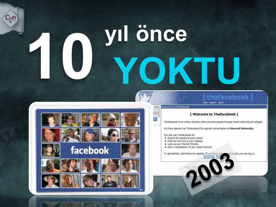 10 yıl önce YOKTU 2003 İletişimimiz paylaşımlarımız değişti