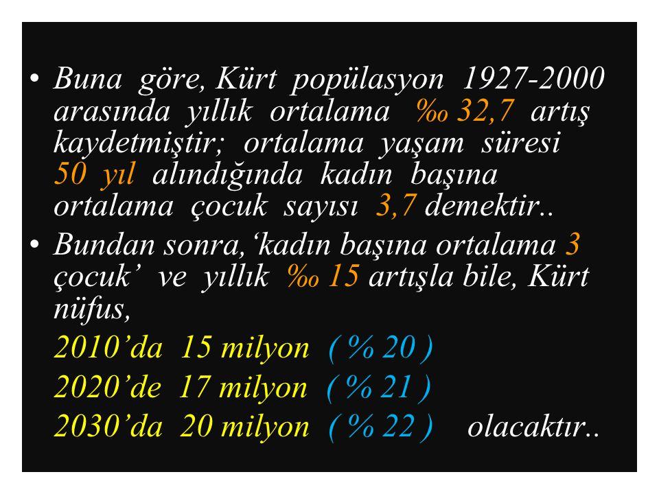 Buna göre, Kürt popülasyon 1927-2000 arasında yıllık ortalama ‰ 32,7 artış kaydetmiştir; ortalama yaşam süresi 50 yıl alındığında kadın başına ortalama çocuk sayısı 3,7 demektir..