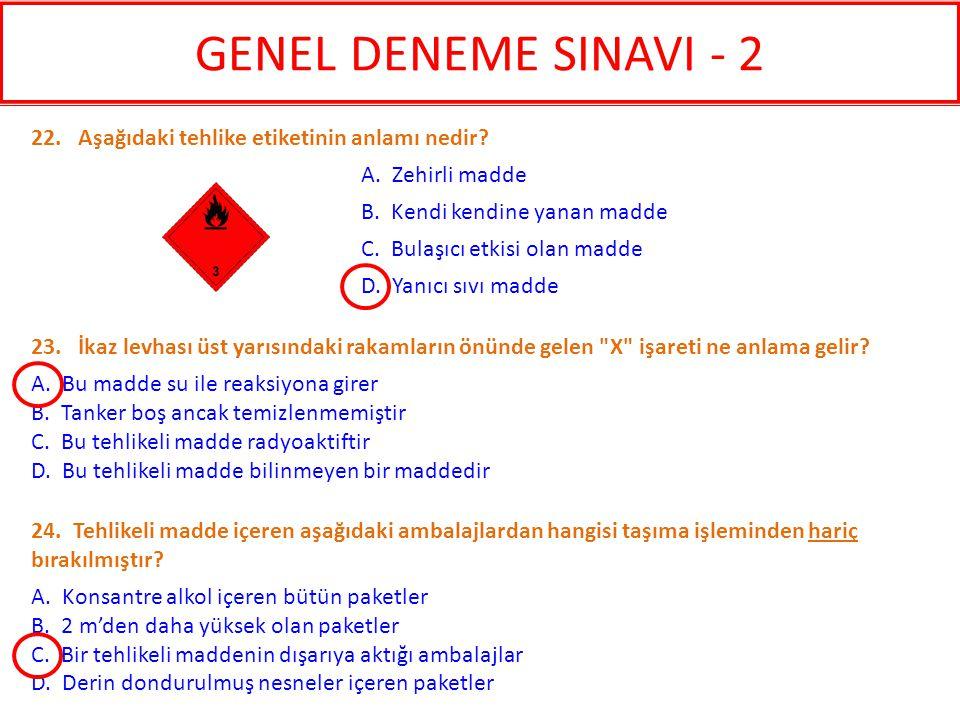 GENEL DENEME SINAVI - 2 22. Aşağıdaki tehlike etiketinin anlamı nedir