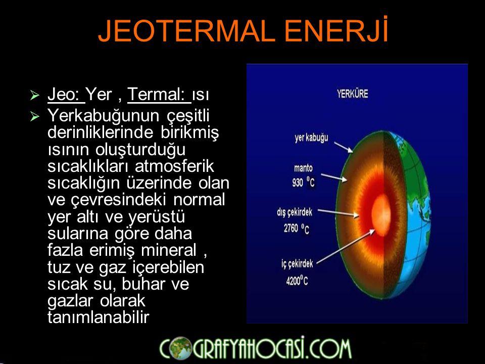 JEOTERMAL ENERJİ Jeo: Yer , Termal: ısı