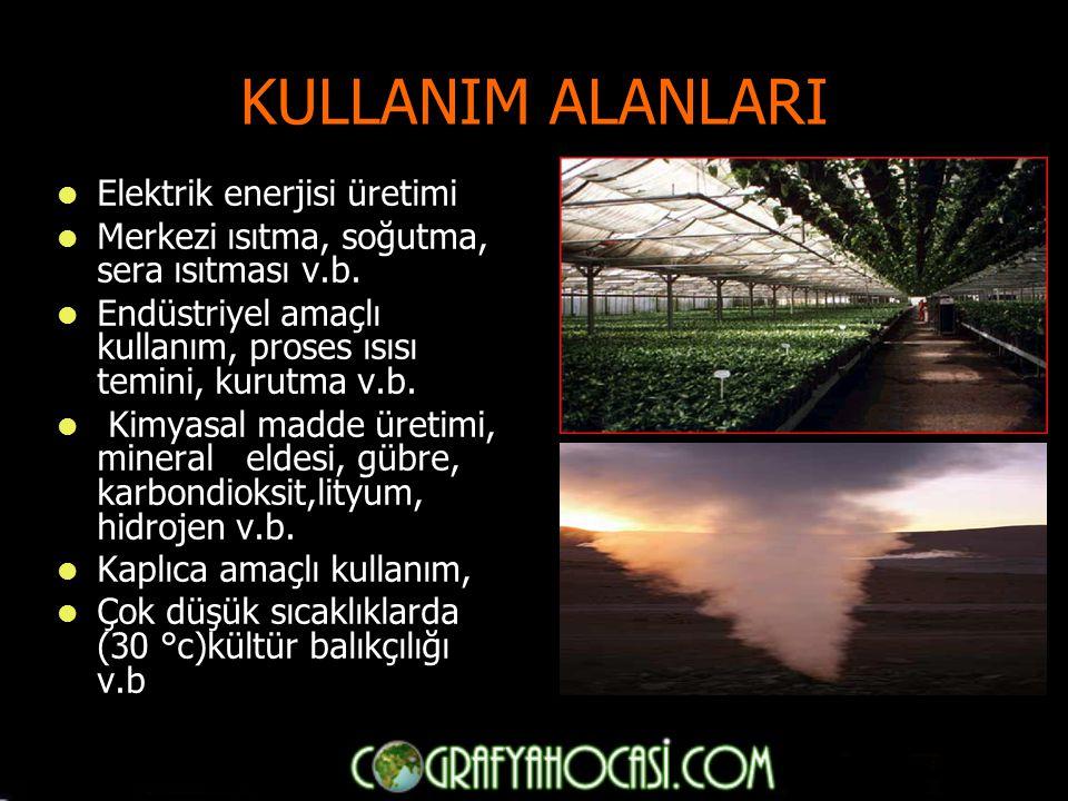 KULLANIM ALANLARI Elektrik enerjisi üretimi