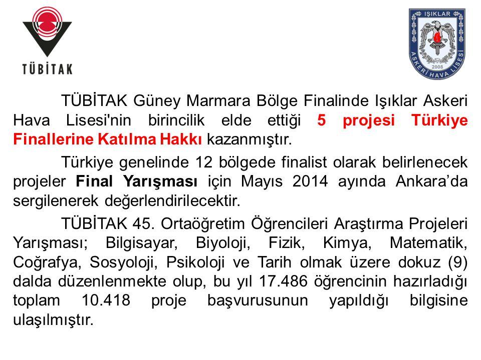 TÜBİTAK Güney Marmara Bölge Finalinde Işıklar Askeri Hava Lisesi nin birincilik elde ettiği 5 projesi Türkiye Finallerine Katılma Hakkı kazanmıştır.