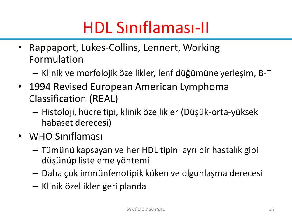 HDL Sınıflaması-II Rappaport, Lukes-Collins, Lennert, Working Formulation. Klinik ve morfolojik özellikler, lenf düğümüne yerleşim, B-T.
