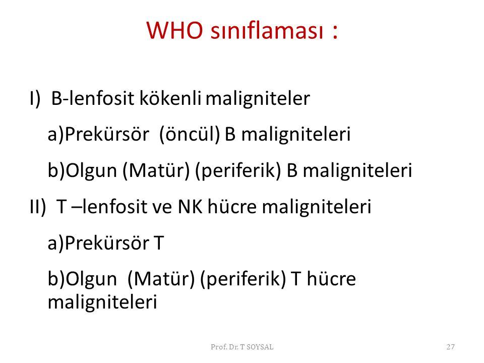 WHO sınıflaması : I) B-lenfosit kökenli maligniteler