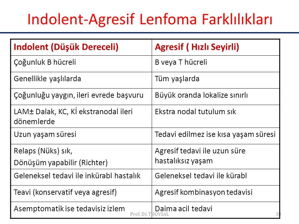 Indolent-Agresif Lenfoma Farklılıkları