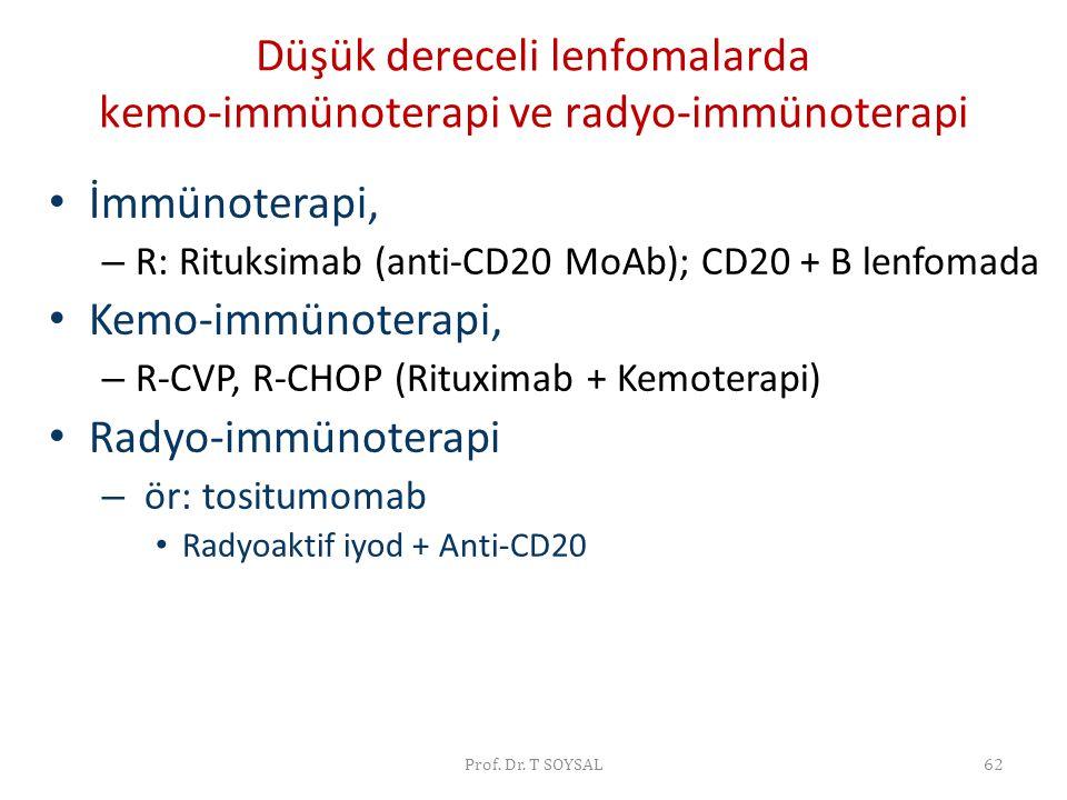 Düşük dereceli lenfomalarda kemo-immünoterapi ve radyo-immünoterapi
